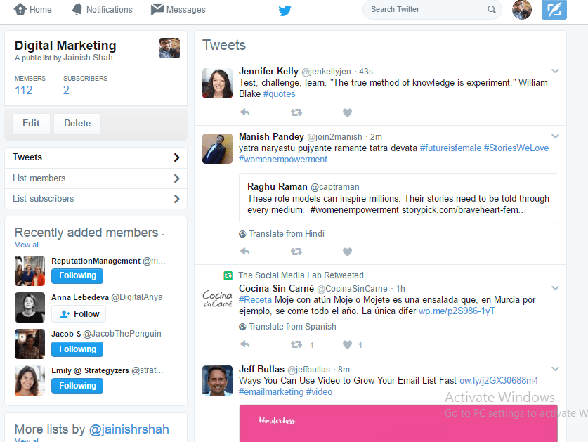 twitter lists page